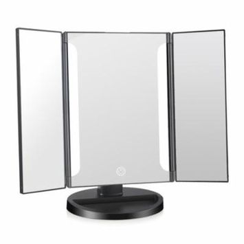 EASEHOLD Tri-Fold LED Tabletop Makeup Mirror with 16 LEDs USB Charging or Battery Powered Touch Screen Mirror