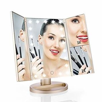 Vanity Makeup Mirror with FC ENERGY 2 X 3X Magnifiers 21 LED Lights Tri-Fold 180 Degree Adjustable Countertop Cosmetic Bathroom, Gold