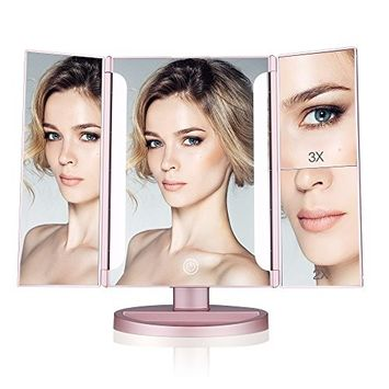 Easehold Lighted Makeup Mirror, 2 X 3X Magnifiers Vanity Mirror with Upgraded Eye-Caring Lights Tri-Fold 180 Degree Adjustable Countertop Cosmetic Bathroom Mirror(Rose G