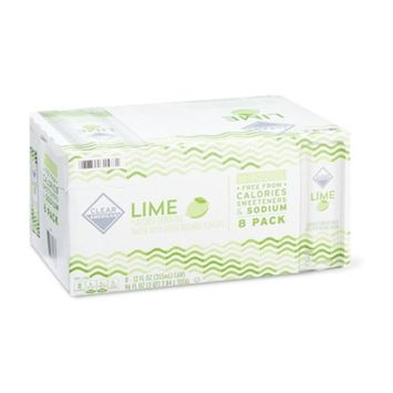 Clear American Lime Sparkling Water, 12 fl oz, 8 Count