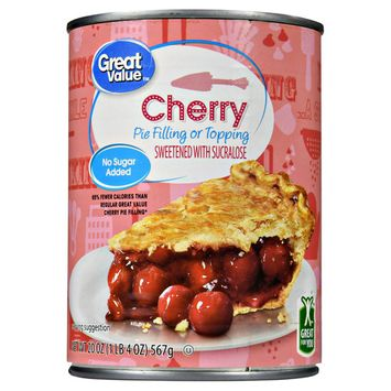 Great Value Pie Filling or Topping, No Sugar Added, Cherry, 20 oz (5 Pack)