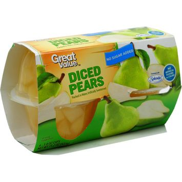 Great Value No Sugar Added Diced Pears, 3.8 oz Cup, 4 Count Box