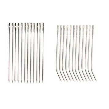 MonkeyJack 2 Size Hair Sewing Braids Track Thread Threader Hook Needle Set - I J Type Wig Extension Decor Tools