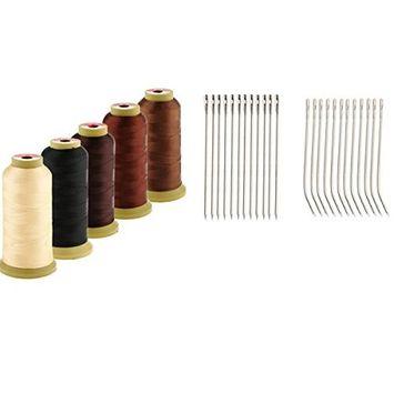 MonkeyJack 5PCS Hair Sewing Weave Thread Set + 24PCS ''I+J'' Shape Sew Braids Track Hook Threader Neelde for Extension Wigs Decoration