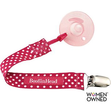 Booginhead PaciGrip Pacifier Holder - Pink Polka Dot