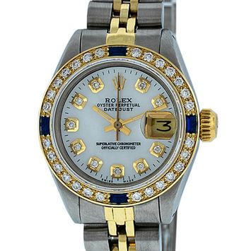 Pre-Owned Rolex Ladies Datejust Steel & 18K Yellow Gold MOP Diamond & Sapphire Watch Jubilee Quickset