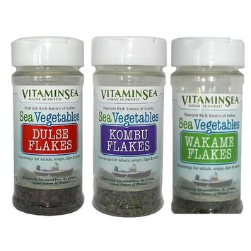 VITAMINSEA Organic Maine Seaweed Dulse - Kombu - Wakame - 3 / 1 oz Vegan - Kosher Certified - DIY Furikake For Keto - Paleo Diets - Maine Coast Atlantic Hand Harvested Raw Wild Sea Vegetables (3SKRS)