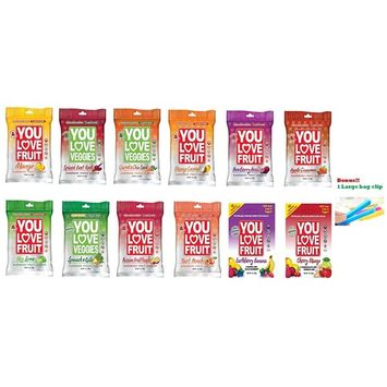 You Love Fruit Premium Organic Fruit Snacks Variety-12 Different Flavors ( Pack of 12 )
