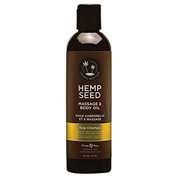 Earthly Body Hemp Seed [Nag Champa] Massage & Body 100% Natural Oil: Size 8 Oz