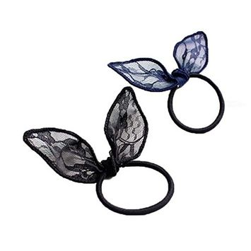 10 Pieces Lace Cute Girls Rabbit Ear Hair Tie Bands Bunny Ear Ponytail Holder