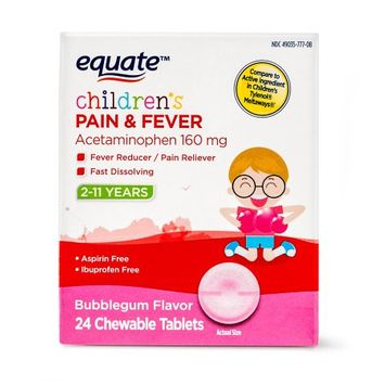 Wal-mart Stores, Inc. Equateâ ¢ Children's Pain & Fever Bubblegum Flavor Chewable Tablets 24 ct Box