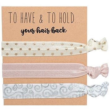 Sola Pack of 10 Rose Gold Bachelorette Hair Ties & Bridesmaids Hair Ties Set of 10 – Bachelorette Party Gifts (30 Total)