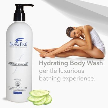 FRAGFRE Sensitive Beauty Body Wash 16 oz - Parabens Free Sulfate Free Body Cleanser - Hypoallergenic for Sensitive and Flaky Skins - Fragrance Free but Mild Natural Cucumber Aroma - Gluten Free Vegan