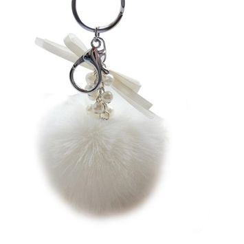 Bestpriceam New Real Fox Fur Ball with Inlay Pearl Rhinestone Key Chain for Womens Bag or Cellphone or Car Pendant (White)