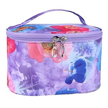Bestpriceam Flower Series Portable PVC Cosmetic Bag (Purple)