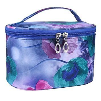 Bestpriceam Flower Series Portable PVC Cosmetic Bag (Navy)