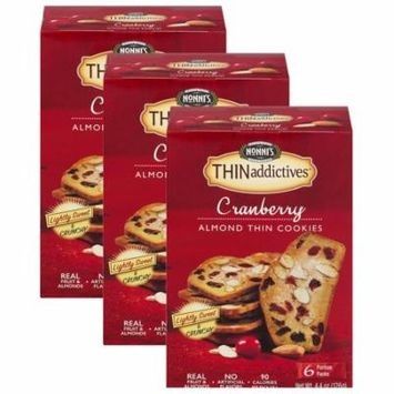 (3 Pack) Nonni's THINaddictives Cranberry Almond Cookies, 4 oz, 6-pack