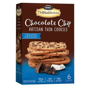 Nonni's THINaddictives, Chocolate Chip Thin Cookies, Toasted Coconut, 6 Count, 4.4 Ounce [Toasted Coconut]