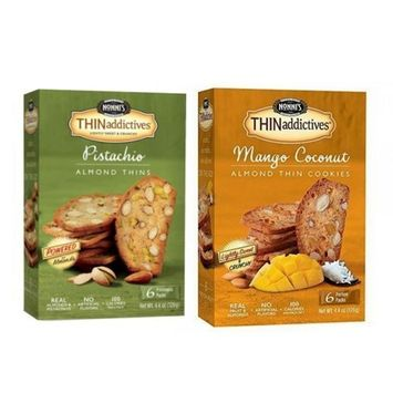 Nonni's Thinaddictives 2 Box Set Pistachio and Mango Coconut Thins! Old school Biscotti! Delicious with a cup of coffee!