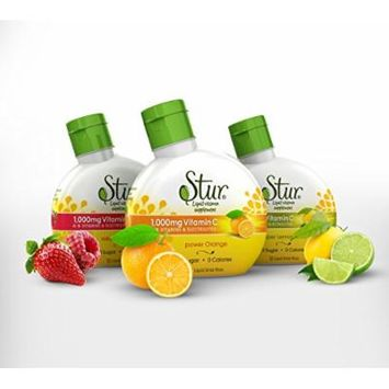Stur - Immunity (3pck) Variety pack - liquid drink mix for Immune Support, with 1000mg Vitamin C, Zinc and B-Vitamins - makes 36 servings, mixes instantly for use on-the-go, delicious taste, sugar-free, calorie-free, natural fruit flavor, natural...