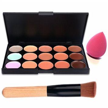 Boolavard 15 Color Contour Face Concealer - makeup palette - palette contouring - contouring cream illuminating kit - correctors Palette - pink makeup sponge and brush contouring