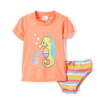 BABY GIRLS RASHGUARD 2 Piece Set Sizes: 12M-24M (12M, Coral)