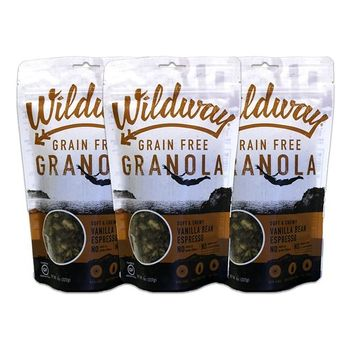 Wildway Vanilla Bean Espresso Grain-free Granola, 8oz - 3 Pack (Certified gluten-free, Paleo, Vegan, Non-GMO)