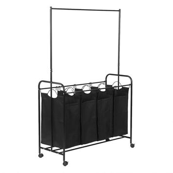 4-Bag Rolling Laundry Sorter with Wheels & Larger Durable Detachable Bags Black
