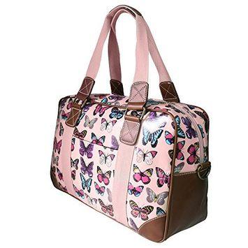 Miss Lulu Women's Oilcloth Travel Bag Butterfly Design (Light Pink L1106B LPK)