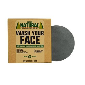 Sam's Natural Charcoal Face Soap - Face Wash - Cleansing Face Soap - Natural - Vegan and Cruelty Free - America's Favorite