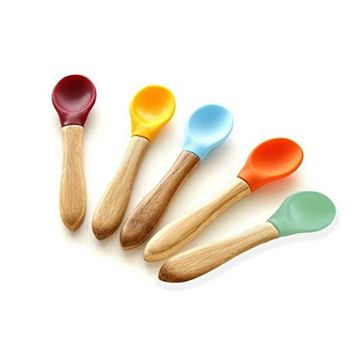 Avanchy Baby Toddler Organic Bamboo Feeding Spoons. Soft Tip Utensils, Bpa Free Silicone Feeding Set. 2 Pack, 5.5