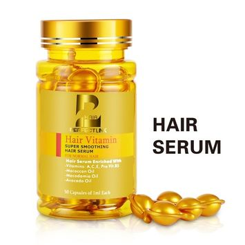 Hair Serum, Hair Vitamins with Argan Oil, Macadamia and Avocado Oils, Vit A, C, E, Pro Vit.B5, 50 Capsules Oil, Perfect Link Hair Oil for Normal Hair (Gold Capsules)