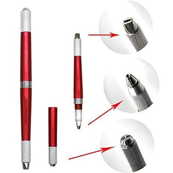 Multi-Function Double-Ended Permanent Eyebrow Makeup Manual Tattoo Pen Machine - Red