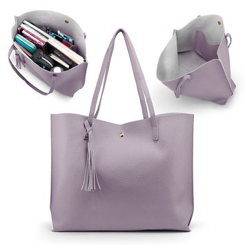 Women Tote Bag Tassels Leather Shoulder Handbags Fashion Ladies Purses Satchel Messenger Bags - Purple