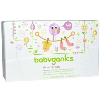 BabyGanics, Dryer Sheets, Lavender, 120 Fabric Softener Sheets(pack of 2)