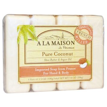 A La Maison de Provence, Hand & Body Bar Soap, Pure Coconut, 4 Bars, 3.5 oz Each [Scent : Pure Coconut]
