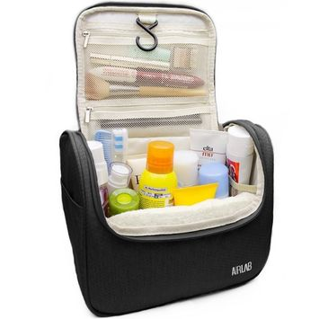 Hanging Toiletry Bag, Airlab Large Toiletries Cosmetic Bag with Handle and Hook, Travel Toiletry Organizer for Men and Women, Size: 9.45 x 7.65 x 5 inch, Black