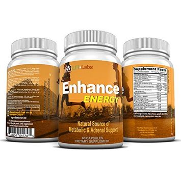 Enhance Energy - Natural Brain Support Energy Supplement with Maca Root, Ginseng, Acai Berry, & 14 Non-GMO Stamina Boosters, Supports Focus & Memory, Aids Weight Loss, Protects Cells - 60 Capsules