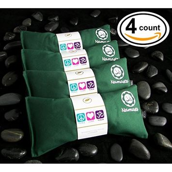 Namaste Yoga Eye Pillows | Lavender Eye Pillow for Yoga | Set of 4 | Green Cotton by Happy Wraps