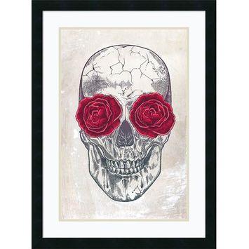 East Urban Home 'Skull and Roses' Framed Print on Wood