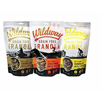 Wildway Gluten-free, Paleo, Grain-Free Granola Variety 3 Count, 8 oz. [Variety Pack]