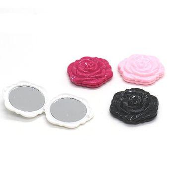 4Pcs Rose Pattern Round Shaped Two Side Folding Metal Cosmetic Mirror for women men lady girl