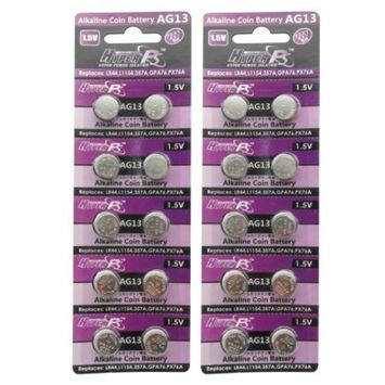 HyperPS (20 pcs) AG13 Alkaline 1.5V Button Cell Battery Single Use LR44 A76 G13R S76E MS76H MS76 Watch Toys Remotes Cameras