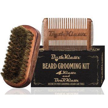 4Klawz Wooden Beard Comb & BoarKlawz Boar Bristle Beard Brush Set for men. Best for Beard Oil and Beard Balm use. Bearded men grooming kit starter comb and brush bundle