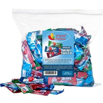 Airheads Bulk - Bulk Candy - Air Heads Mini Bars Variety Pack, Watermelon, Cherry, Blue Raspberry, Chewy Fruit Candies 3 lb Party Bag, Family Size [3 LB. Assorted]