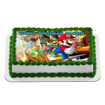 Mario Bros Nintendo Quarter Sheet Edible Photo Birthday Cake Topper. ~ Personalized! 1/4 Sheet