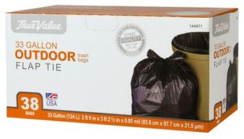 Berry Global Berry Plastics 925837 Trash Bags, Black Plastic, 33-Gals, 38-Ct.