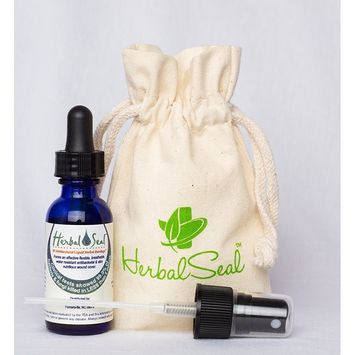 Waterproof Liquid Bandage, Herbal Shield Seals Cuts & Burns 1 oz Bottle with Dropper & Sprayer Applicators
