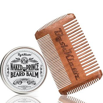 Naked Prince Beard Balm Fragrance Free Leave in Conditioner 4Klawz Pocket Beard Comb Gift Set Beard Care Grooming Kit Men's Great for Hunters- Christmas Holiday Bearded Man Special Gift Deal