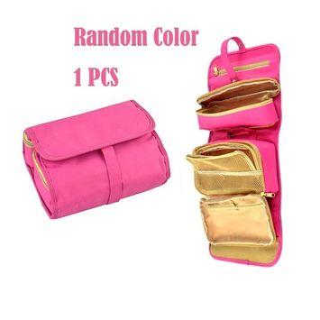 Garrelett Hanging Cosmetic Bag, Waterproof Folding Makeup Case/Travel Toiletry Organizer for Woman Man (Random Color)